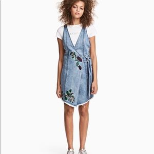 H&M Floral Embroider Wrap Denim Dress